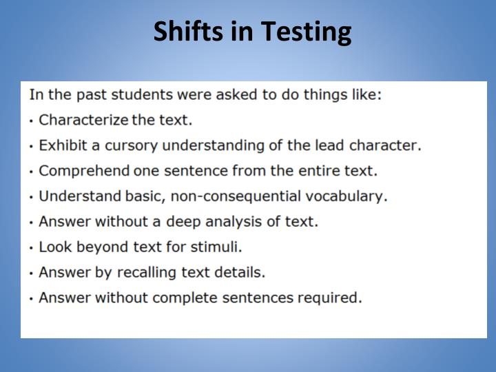 Shifts in Testing