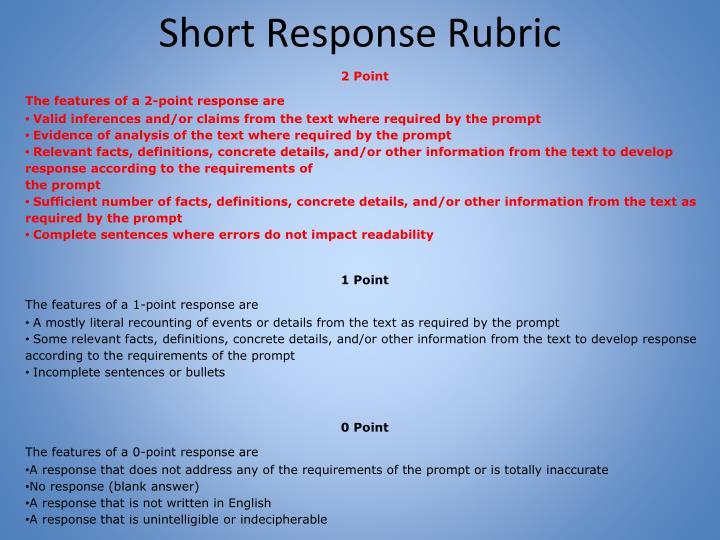 Short Response Rubric