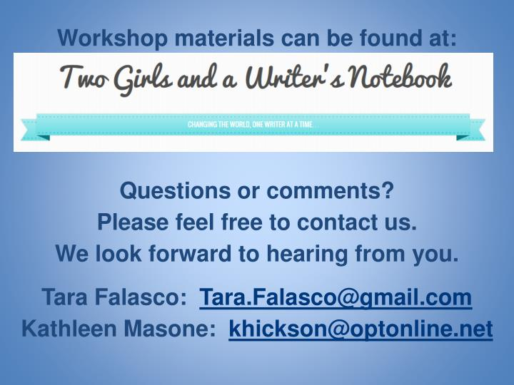 Workshop materials can be found at: