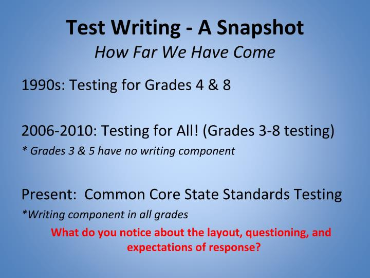 Test writing a snapshot how far we have come