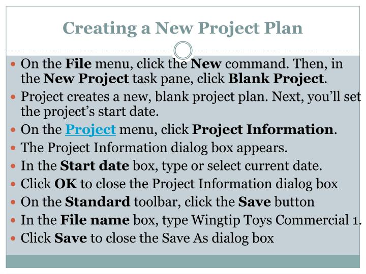 Creating a New Project Plan
