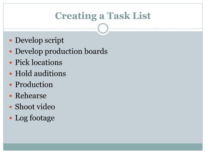 Creating a Task List