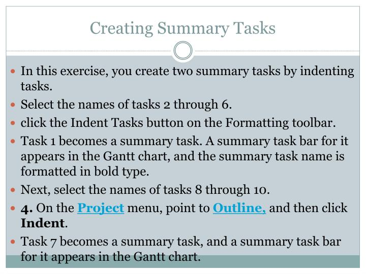 Creating Summary Tasks