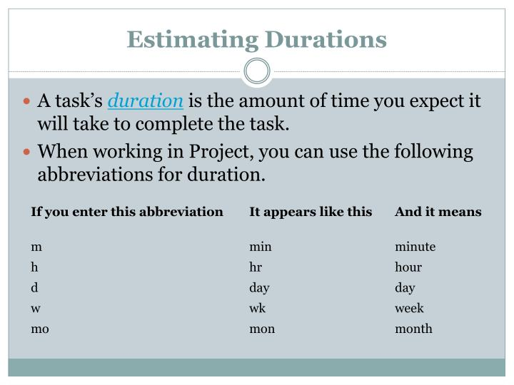 Estimating Durations