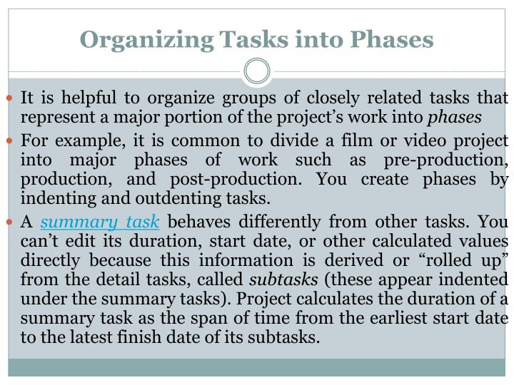Organizing Tasks into