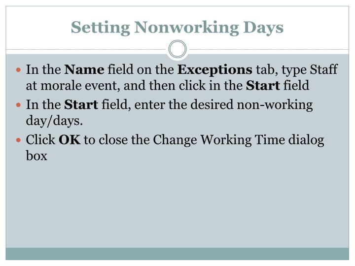 Setting Nonworking Days