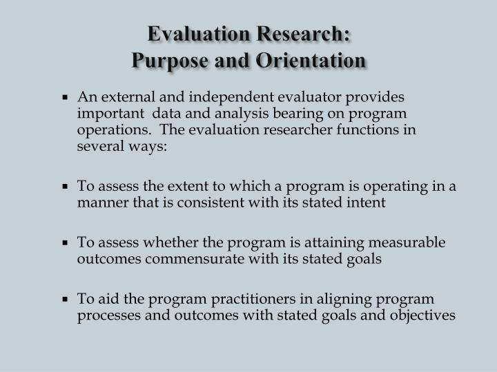 Evaluation research purpose and orientation