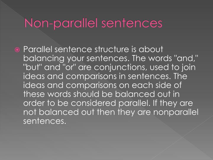Non-parallel sentences