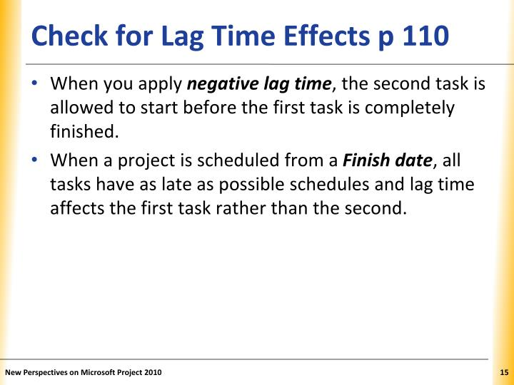 Check for Lag Time Effects p 110