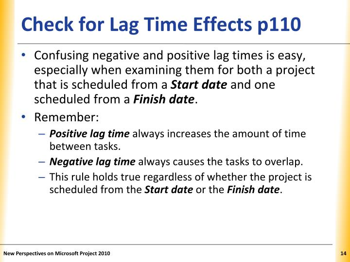 Check for Lag Time Effects p110