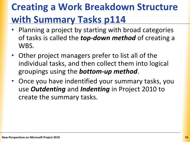 Creating a Work Breakdown Structure with Summary Tasks p114