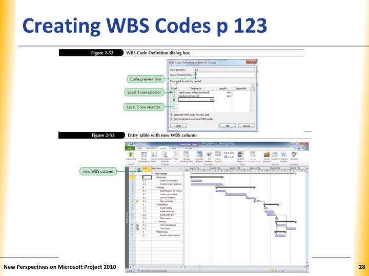 Creating WBS Codes p 123