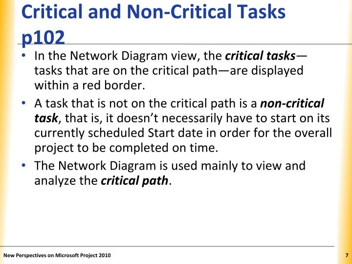 Critical and Non-Critical Tasks p102