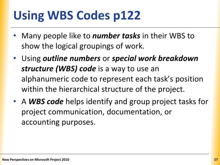 Using WBS Codes p122