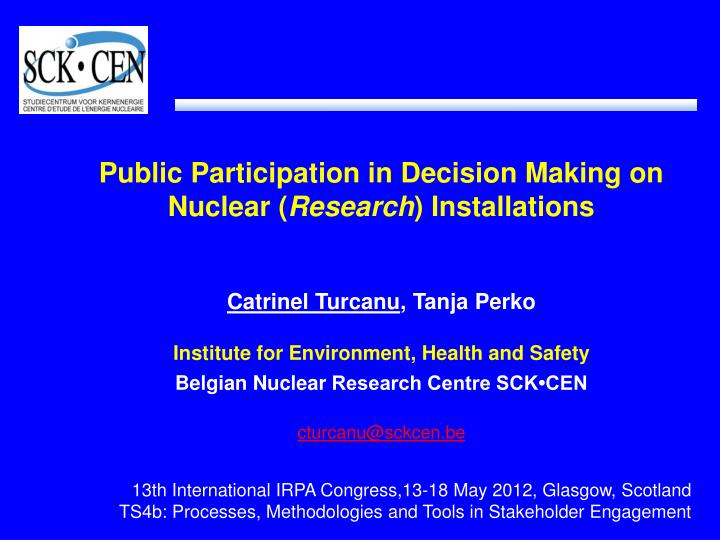 Public Participation in Decision Making on Nuclear