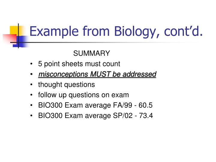 Example from Biology, cont'd.