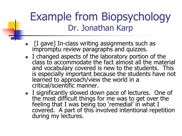 Example from Biopsychology
