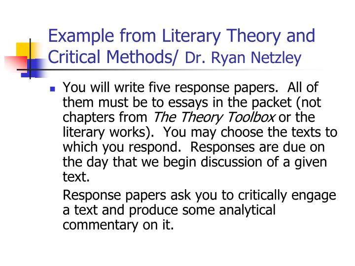 Example from Literary Theory and Critical Methods/