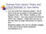 example from literary theory and critical methods dr ryan netzley