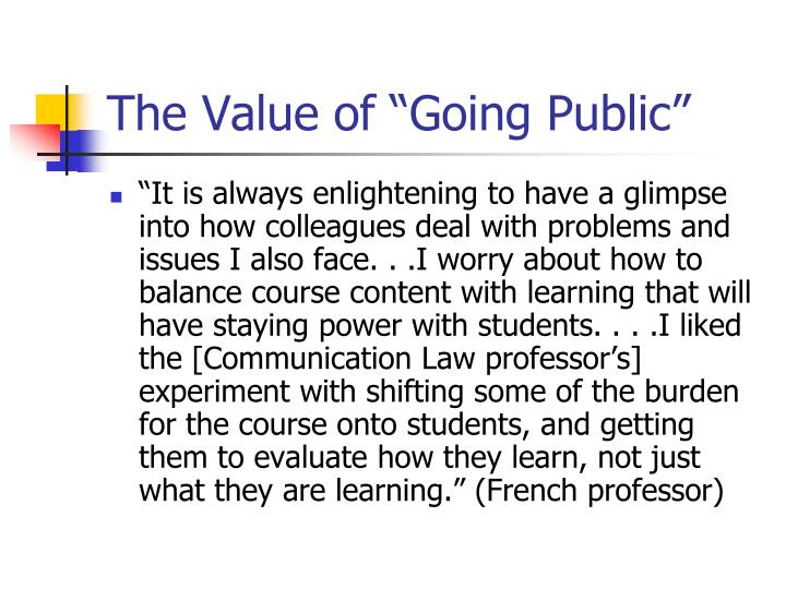 "The Value of ""Going Public"""