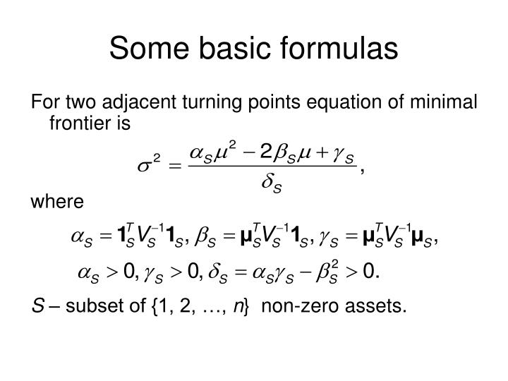 Some basic formulas