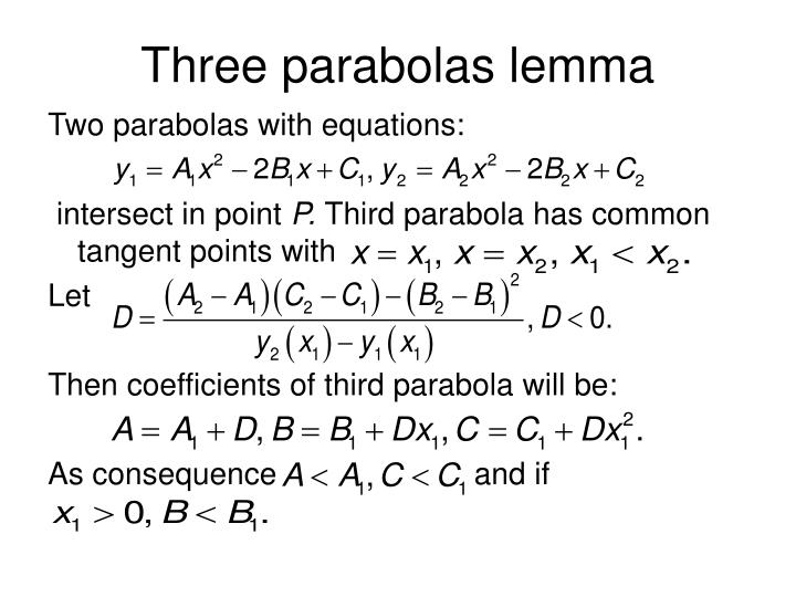 Three parabolas lemma