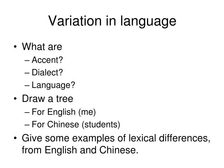 Variation in language