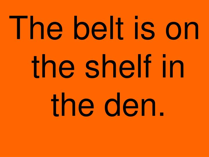 The belt is on the shelf in the den.