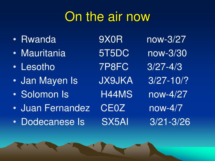 On the air now