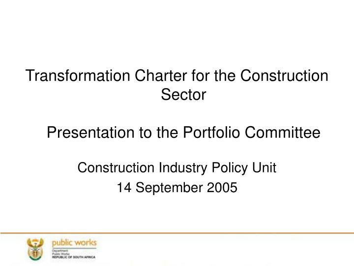 Transformation Charter for the Construction Sector