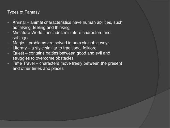 Types of Fantasy