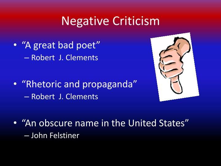 Negative Criticism