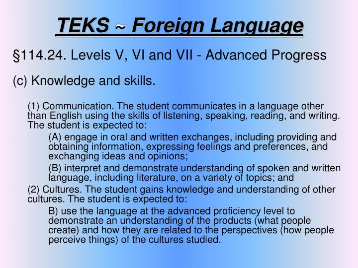 TEKS ~ Foreign Language