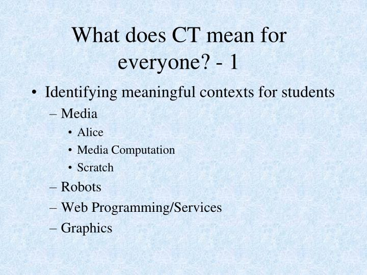 What does CT mean for