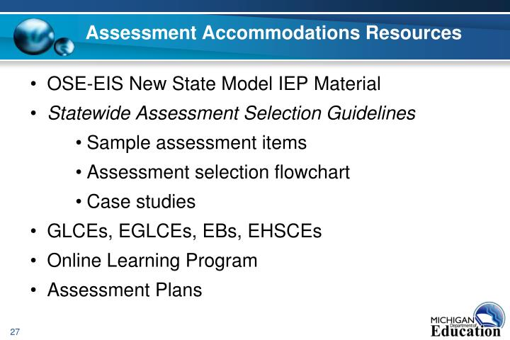 Assessment Accommodations Resources