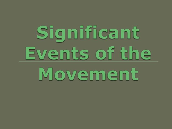 Significant Events of the Movement