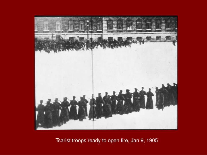 Tsarist troops ready to open fire, Jan 9, 1905