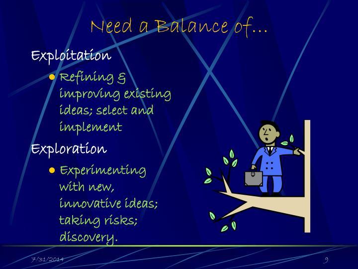 Need a Balance of…