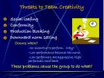 threats to team creativity