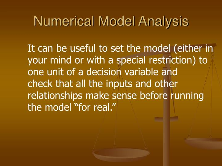 Numerical Model Analysis