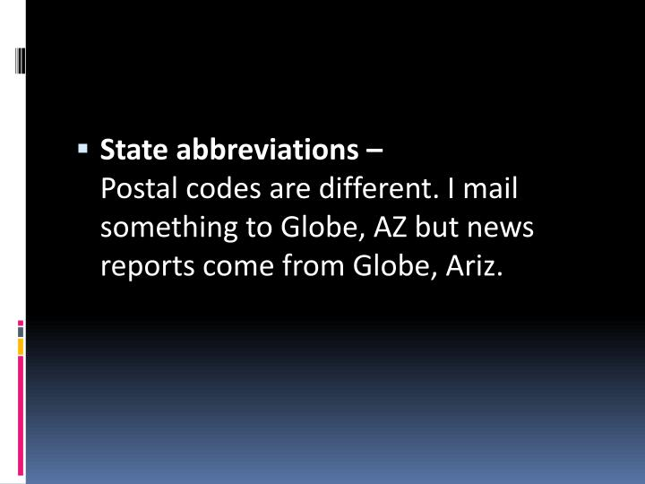 State abbreviations –