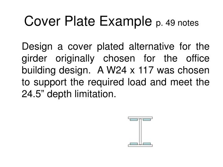 Cover plate example p 49 notes
