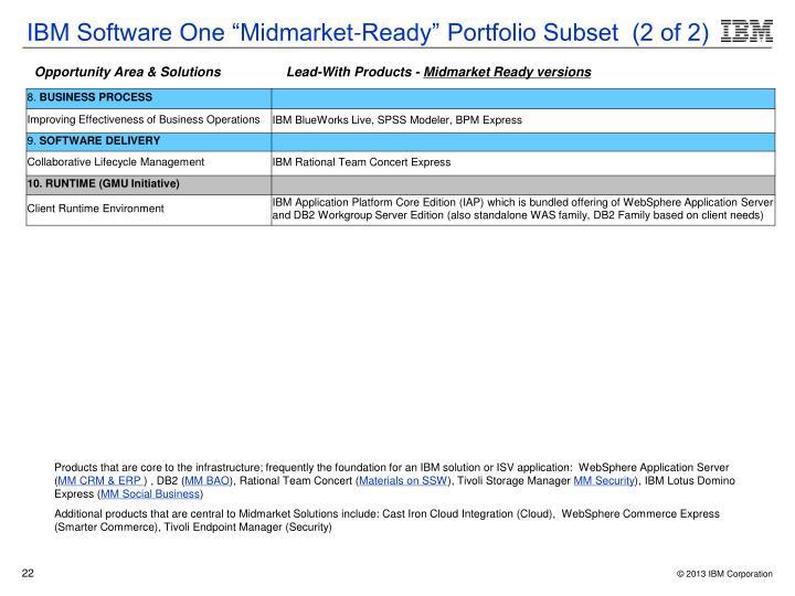 "IBM Software One ""Midmarket-Ready"" Portfolio Subset  (2 of 2)"