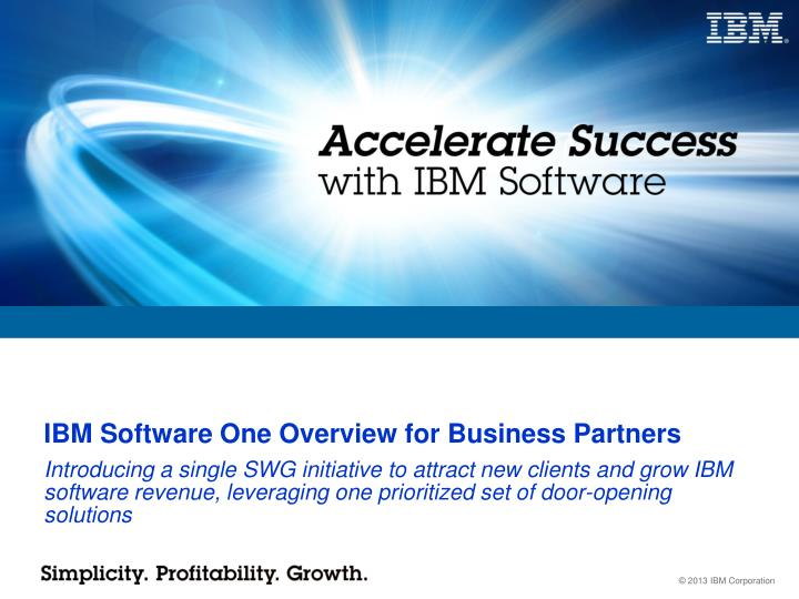 Ibm software one overview for business partners