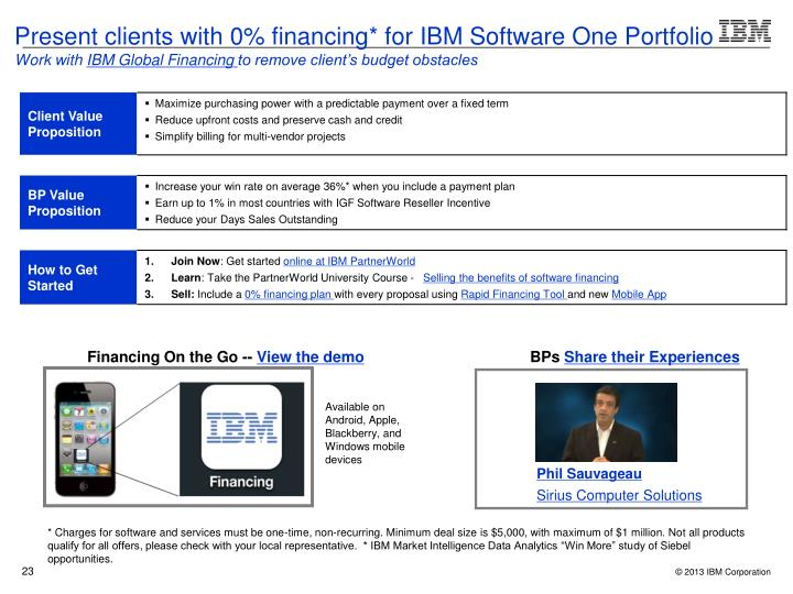 Present clients with 0% financing* for IBM Software One Portfolio