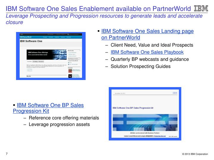 IBM Software One Sales Landing page on PartnerWorld
