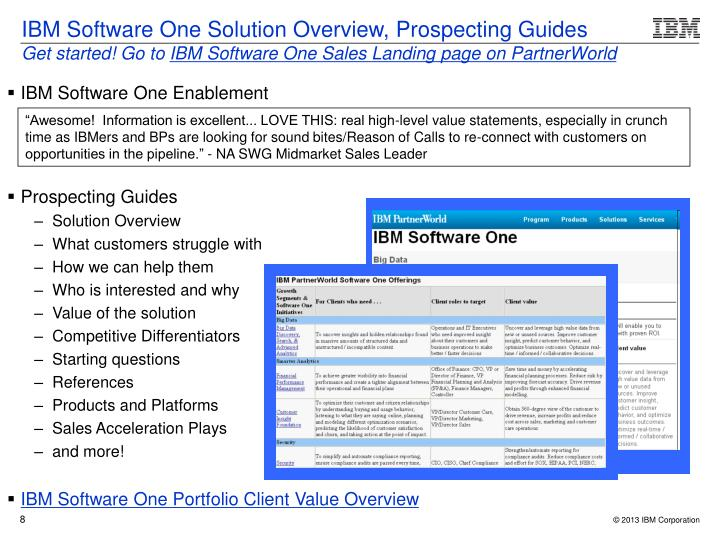 IBM Software One Solution Overview, Prospecting Guides