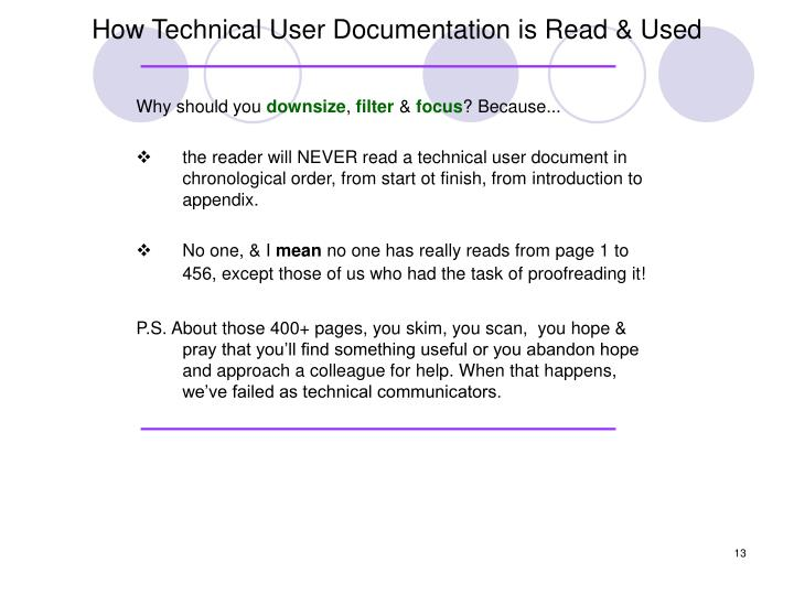 How Technical User Documentation is Read & Used