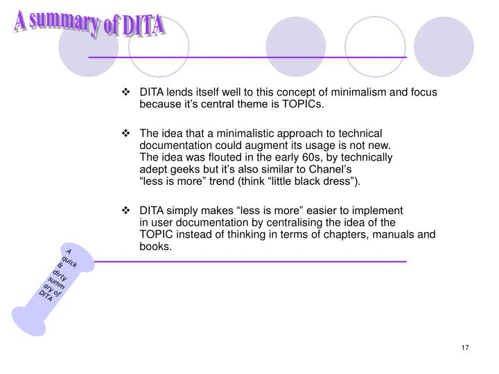 A quick & dirty summary of DITA