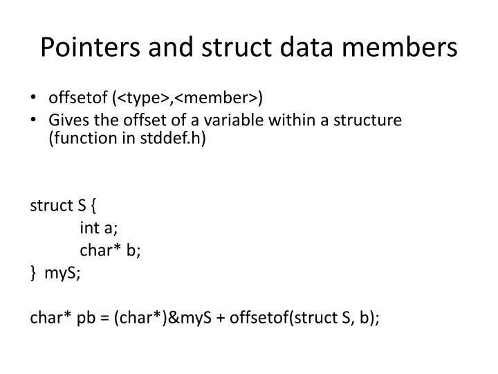 Pointers and struct data members